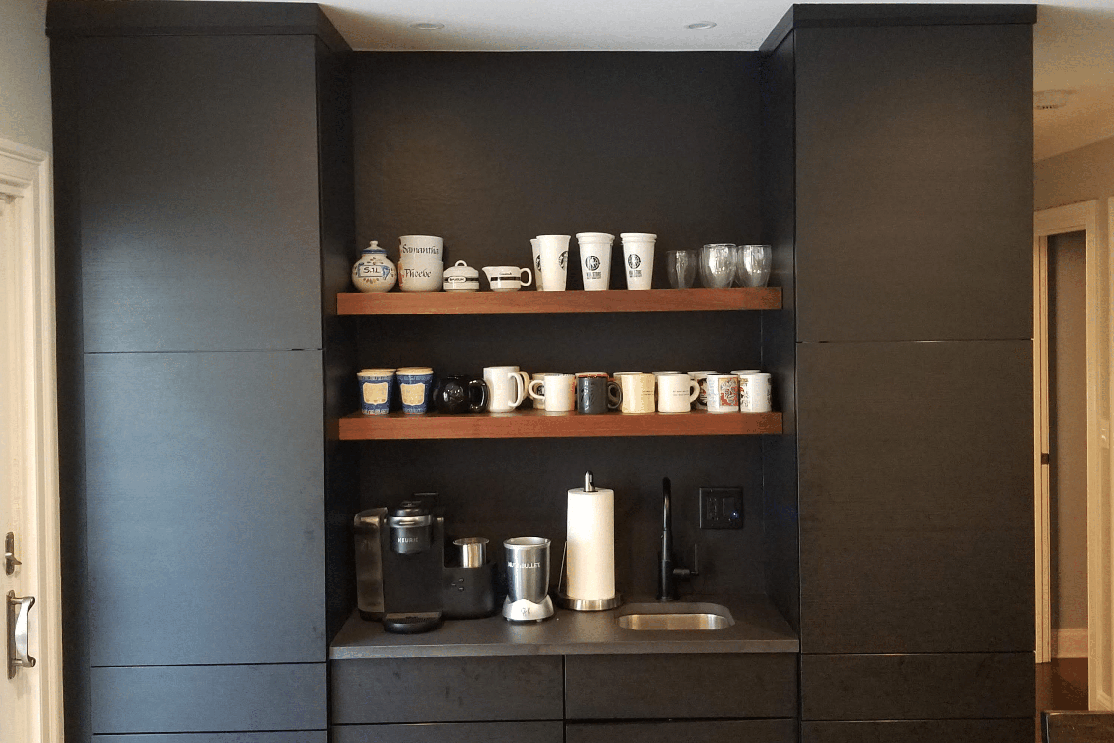 Coffee Bar with Floating Shelves