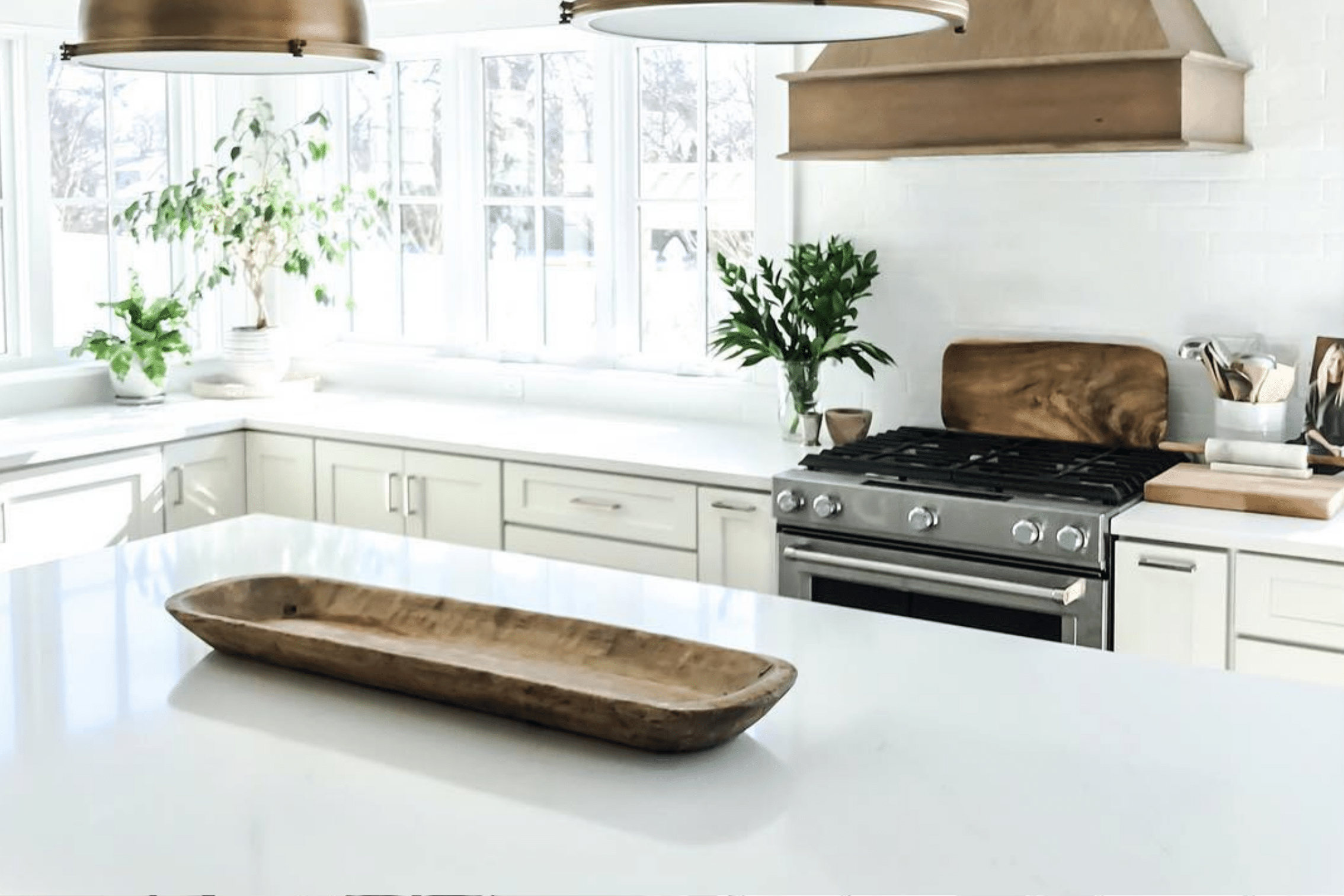 Kitchen Countertop and Brass Appliances