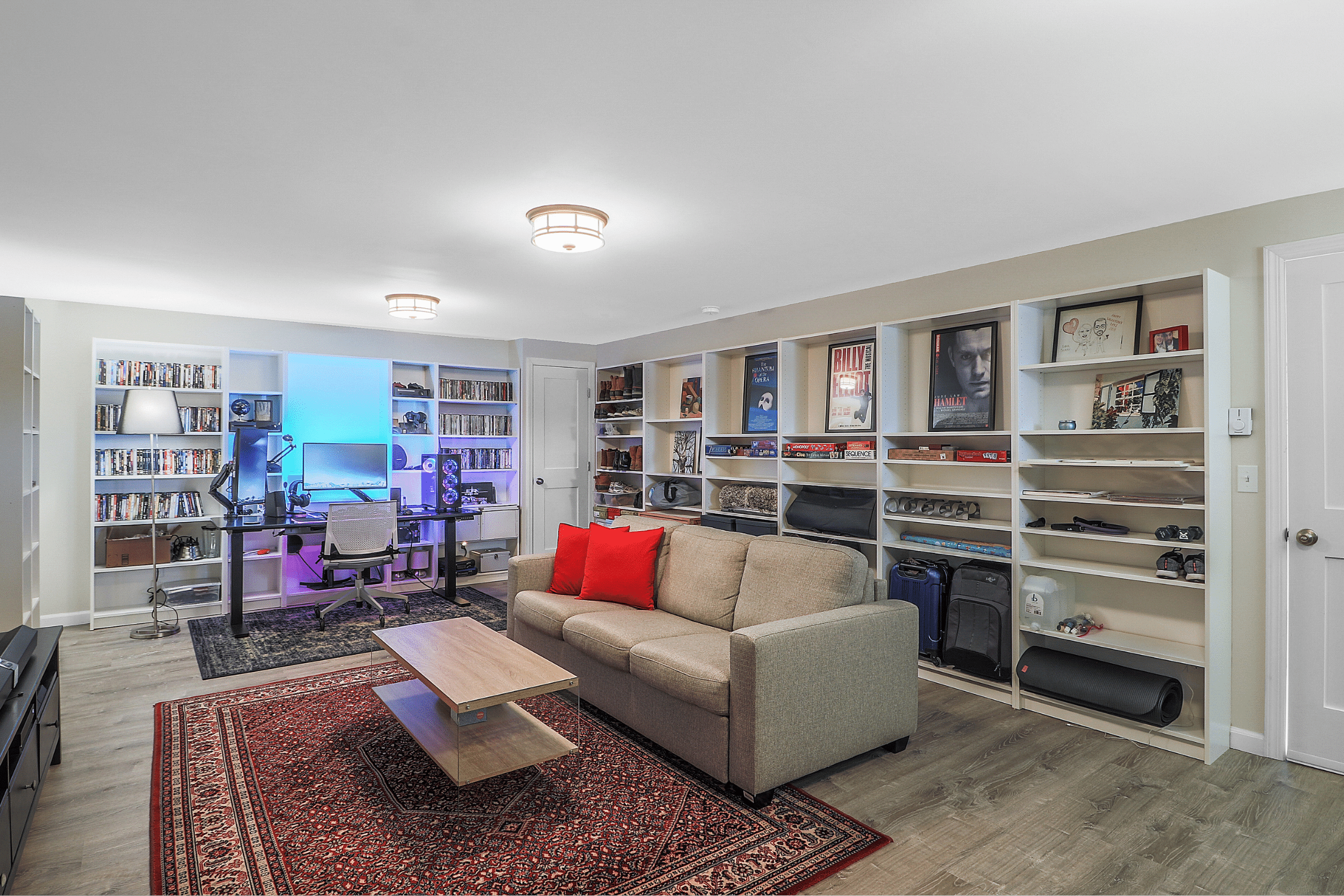 Finished Basement with Movie Theater Room And Library